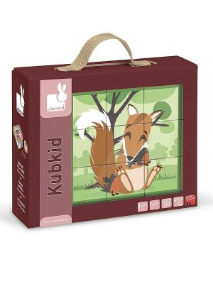 Кубики Лесные животные, 9 элементов Janod. Цвет: зеленый
