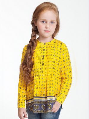 Блузка Vilatte. Цвет: желтый, серый
