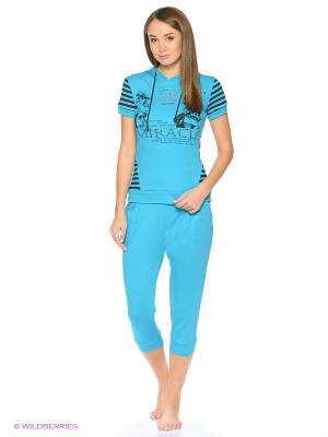 Домашний костюм-футболка и бриджи NAGOTEX. Цвет: бирюзовый