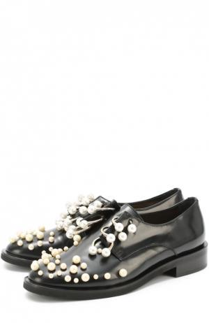 Кожаные ботинки с жемчужинами и полукольцами Coliac. Цвет: черный