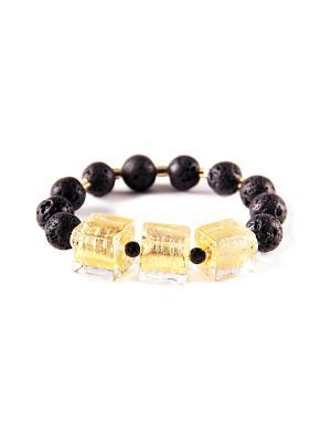 Браслет Flex Cubo, лава, золотой Bottega Murano. Цвет: черный, золотистый