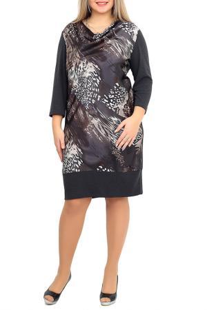 Платье средней длинны с ярким принтом Balsako. Цвет: серо-коричневый