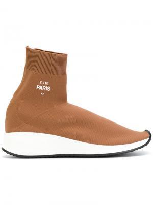 Кроссовки с носком Joshua Sanders. Цвет: коричневый