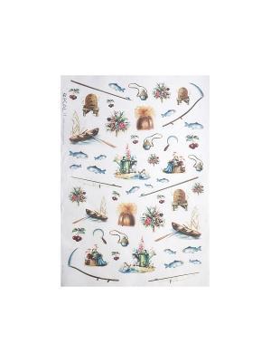 Декупажная карта 32*45 рыбалка Idigo. Цвет: сиреневый, прозрачный