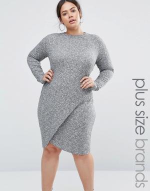 Club L Платье в рубчик с асимметричной юбкой и вырезом капелькой Plus. Цвет: серый