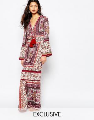 White Sand Платье макси с принтом и высоким разрезом Prarie. Цвет: мульти