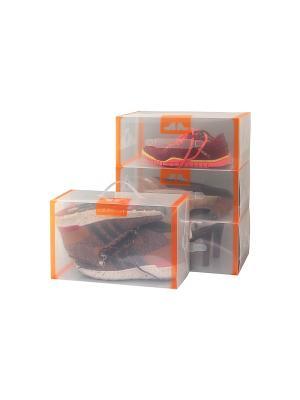 Набор 4 коробок для хранения мужской обуви Прозрачные с оранжевой каймой EL CASA. Цвет: прозрачный