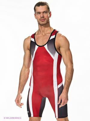 Борцовский костюм WRESTLING SINGLET ASICS. Цвет: красный, белый, серый