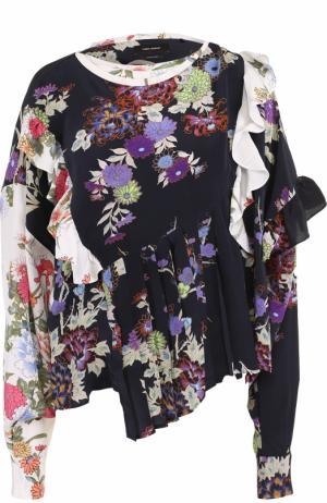 Шелковая блуза с оборками и принтом Isabel Marant. Цвет: разноцветный