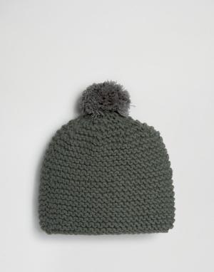 Hat Attack Вязаная шапка-бини с помпоном. Цвет: серый