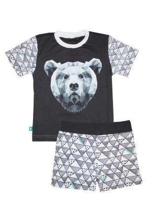 Пижама: футболка, шорты КОТМАРКОТ. Цвет: черно-белый