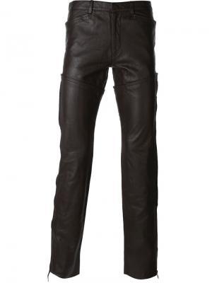 Кожаные брюки Jean Paul Gaultier Vintage. Цвет: коричневый