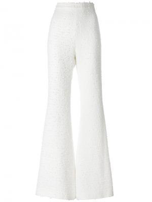 Твидовые брюки с завышенной талией Balmain. Цвет: белый