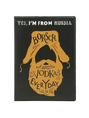 Обложка для паспорта Im russian. Borsch Kawaii Factory. Цвет: черный, рыжий