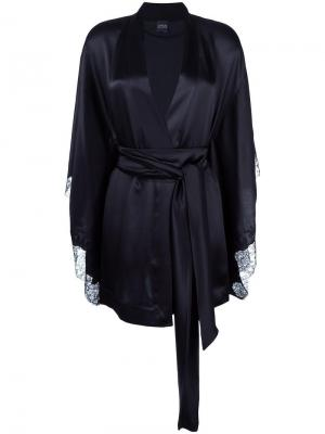 Короткий халат-кимоно Carine Gilson. Цвет: чёрный