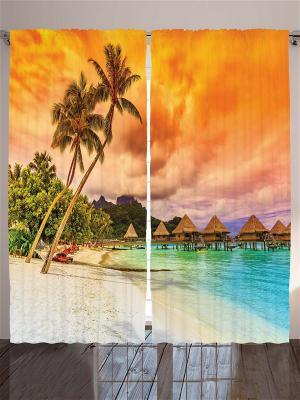Фотошторы Оранжевые закаты, 290*265 см Magic Lady. Цвет: голубой, оранжевый, персиковый, черный, синий, зеленый, морская волна