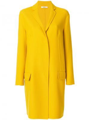 Классическое приталенное пальто Odeeh. Цвет: жёлтый и оранжевый