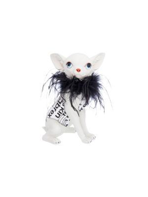 Фигурка декоративная Собака в накидке из перьев  Elan Gallery. Цвет: белый, черный