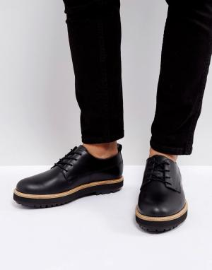 Zign Черные кожаные туфли на толстой подошве. Цвет: черный