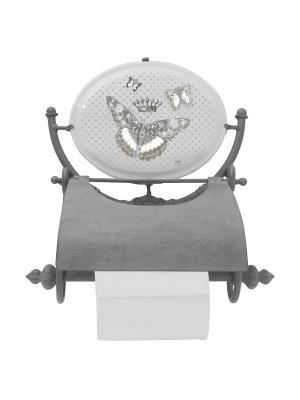 Держатель для туалетной бумаги с медальоном- металл и керамика Царство Бабочек Mathilde M. Цвет: белый, черный