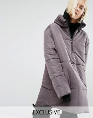 Puffa Oversize-куртка через голову с короткой молнией. Цвет: серый