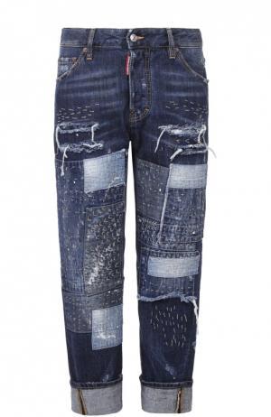Укороченные джинсы с декоративной отделкой и отворотами Dsquared2. Цвет: синий