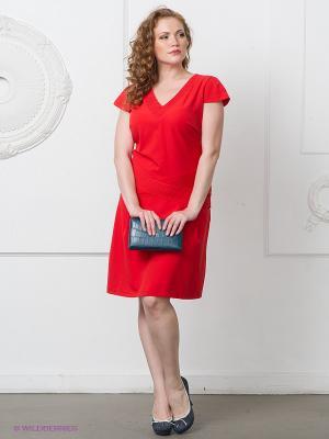 Платье Gemko plus size. Цвет: коралловый