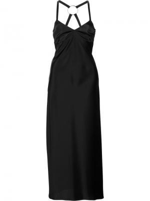Струящееся платье кроя миди Off-White. Цвет: чёрный