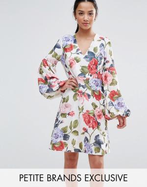 John Zack Petite Платье мини с цветочным принтом. Цвет: мульти