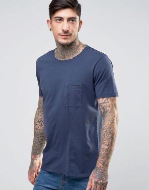 Nudie Jeans Футболка с карманом Co Luka Skewed. Цвет: темно-синий