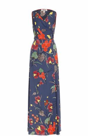 Шелковое платье с цветочным принтом и запахом Diane Von Furstenberg. Цвет: разноцветный
