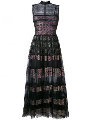 Длинное платье из тюля и кружева Christopher Kane. Цвет: чёрный