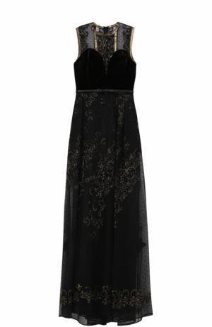 Кружевное платье-макси без рукавов Elie Saab. Цвет: черный
