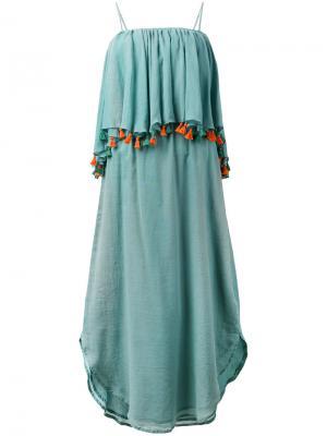 Платье с оборками и кисточками Carolina K. Цвет: зелёный