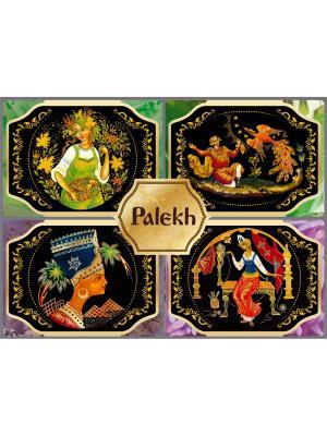 Шуйское мыло ручной работы, набор Палехская шкатулка Mk&Ra. Цвет: зеленый, сиреневый