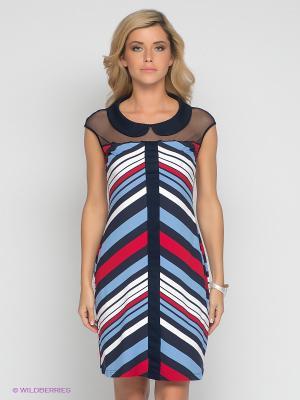 Платье V&V. Цвет: темно-синий, голубой, красный, белый