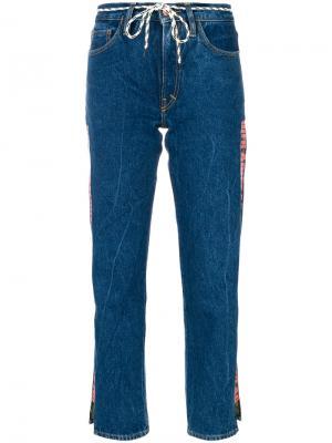 Укороченные джинсы с логотипом Aries. Цвет: синий