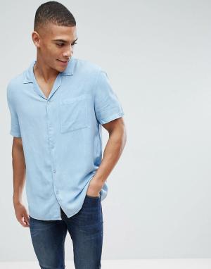 New Look Светлая джинсовая рубашка классического кроя с отложным воротником. Цвет: синий