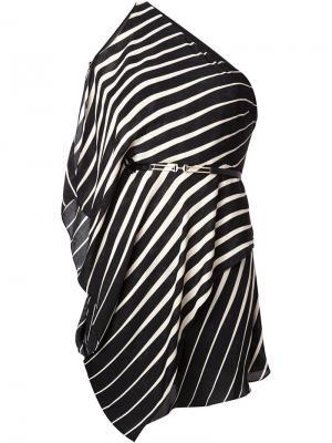 Платье на одно плечо Halston Heritage. Цвет: чёрный