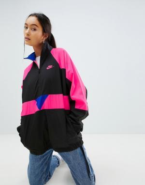 Nike Черная спортивная куртка колор блок с короткой молнией Vapourwave. Цвет: черный