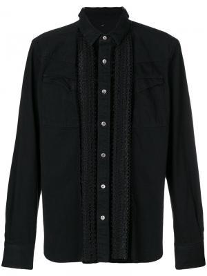 Джинсовая рубашка с вышивкой Sacai. Цвет: чёрный
