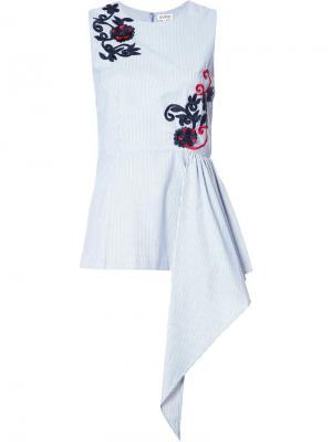 Расклешенная блузка с цветочной вышивкой Suno. Цвет: синий