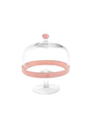 Тортница на ножке розовая с крышкой H&H. Цвет: прозрачный