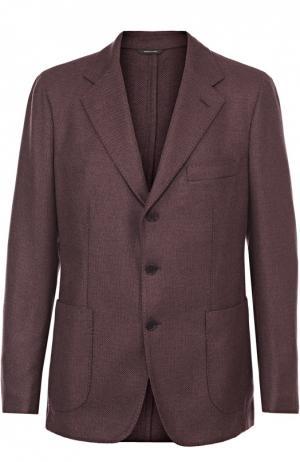 Однобортный пиджак из смеси кашемира и шелка Loro Piana. Цвет: темно-фиолетовый