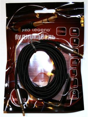 Кабель соединительный Pro Legend, 3.5 Jack (M)  - текстильная оплетка, черный, 2м. Legend. Цвет: черный