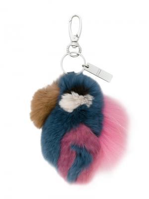 Меховой брелок для ключей Steffen Schraut. Цвет: синий