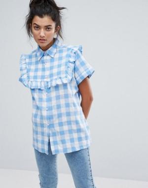Lazy Oaf Рубашка в клеточку с рюшами. Цвет: синий