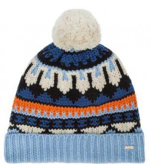 Разноцветная шапка из шерсти Maison Scotch. Цвет: синий