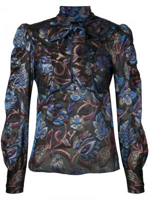 Sheer floral blouse with neck tie Anna Sui. Цвет: синий