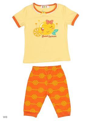 Футболка и бриджи Kidly. Цвет: желтый, оранжевый